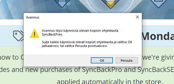 syncback ilmoitus.