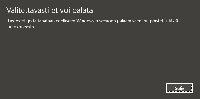 Windows 10 poisto.