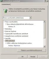 USB Asetukset.